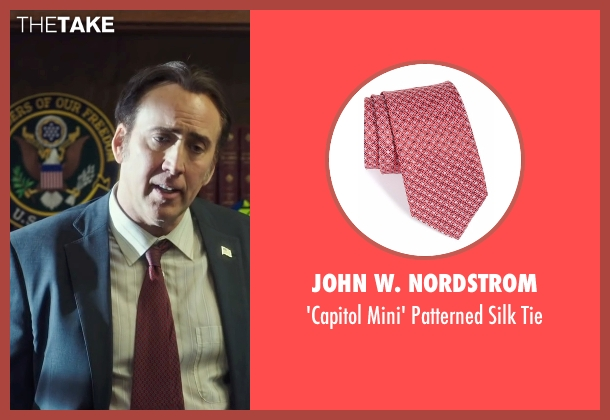 John W. Nordstrom red tie from Snowden seen with Nicolas Cage (Unknown Character)