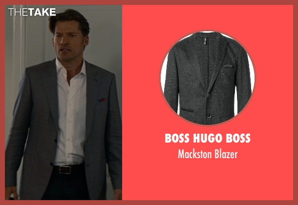 Boss Hugo Boss gray blazer from The Other Woman seen with Nikolaj Coster-Waldau (Mark King)