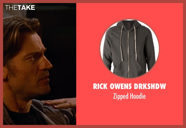 Rick Owens Drkshdw gray hoodie from The Other Woman seen with Nikolaj Coster-Waldau (Mark King)
