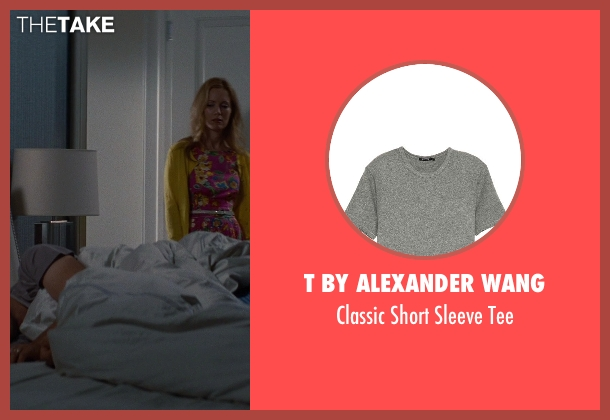 T by Alexander Wang gray tee from The Other Woman seen with Nikolaj Coster-Waldau (Mark King)