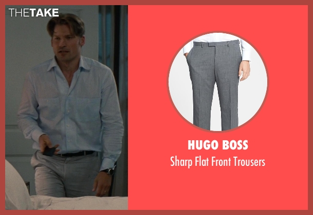 Hugo Boss gray trousers from The Other Woman seen with Nikolaj Coster-Waldau (Mark King)