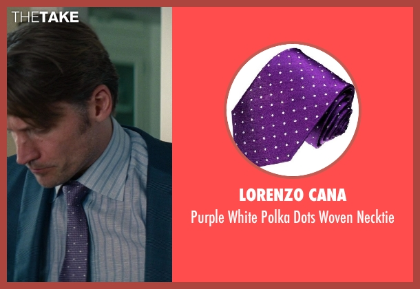 Lorenzo Cana purple necktie from The Other Woman seen with Nikolaj Coster-Waldau (Mark King)