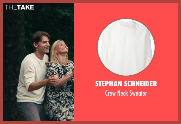 Stephan Schneider white sweater from The Other Woman seen with Nikolaj Coster-Waldau (Mark King)