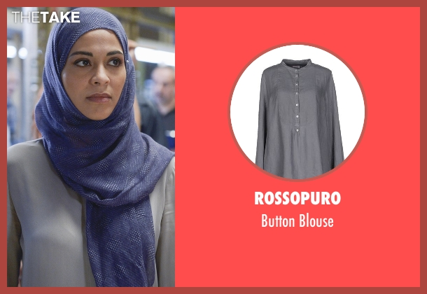 Rossopuro gray blouse from Quantico seen with Nimah Amin (Yasmine Al Massri)