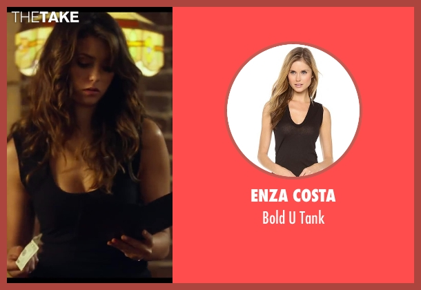 Enza Costa black tank from Let's Be Cops seen with Nina Dobrev (Josie)