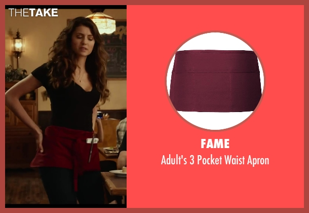 Fame red apron from Let's Be Cops seen with Nina Dobrev (Josie)