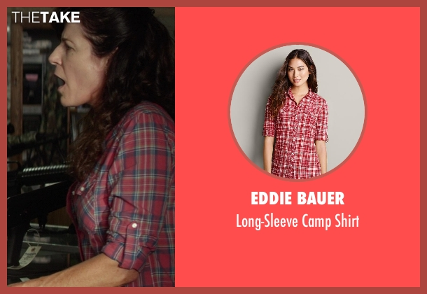 Eddie Bauer red shirt from Ride Along seen with Lou Anne Cooper (Gun Shop Val (as Louanne LaFortune))