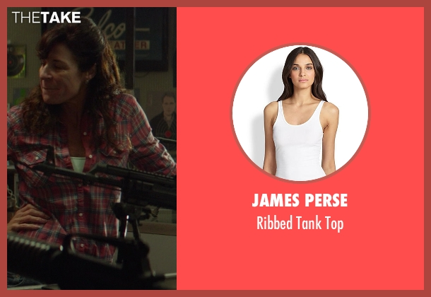 James Perse white top from Ride Along seen with No Actor (Gun Shop Val (as Louanne LaFortune))