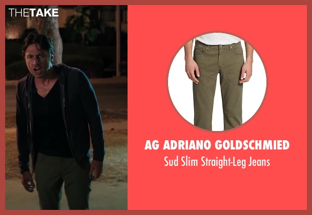 AG Adriano Goldschmied green jeans from Wish I Was Here seen with No Actor (Aidan Bloom)
