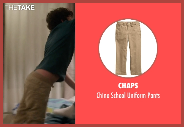 Chaps brown pants from 99 Homes seen with Noah Lomax (Connor Nash)