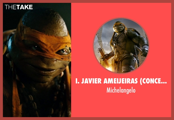 I. Javier Ameijeiras (Concept Illustrator) michelangelo from Teenage Mutant Ninja Turtles (2014) seen with Noel Fisher (Michelangelo)