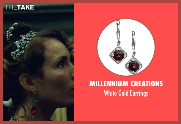 Millennium Creations red earrings from Sherlock Holmes: A Game of Shadows seen with Noomi Rapace (Madam Simza Heron)