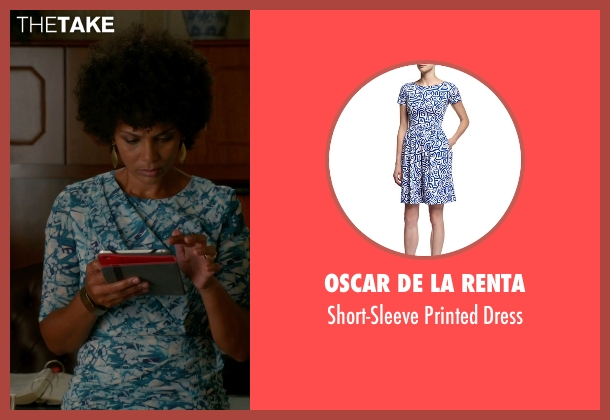 Oscar De La Renta blue dress from The Good Wife seen with Nora (Nicole Roderick)