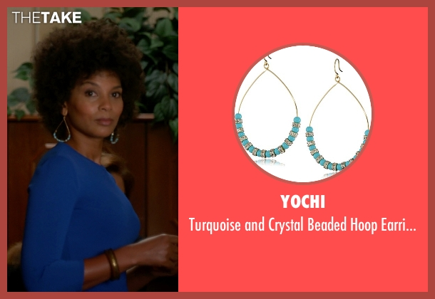 Yochi blue earrings from The Good Wife seen with Nora (Nicole Roderick)