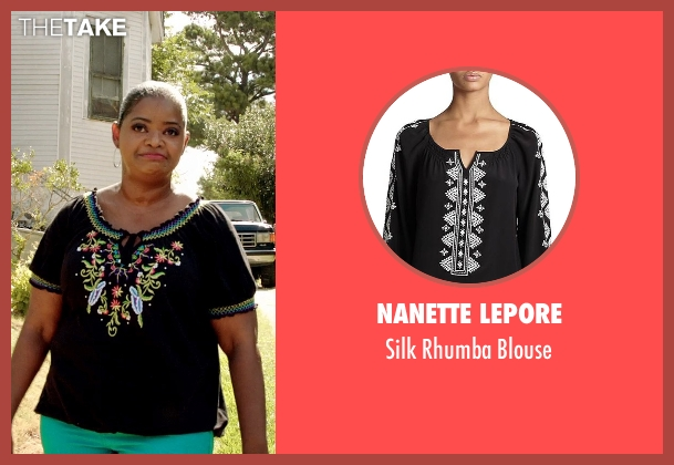Nanette Lepore black blouse from Black or White seen with Octavia Spencer (Rowena Jeffers)