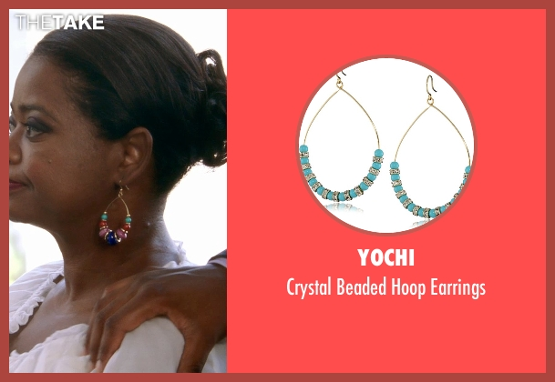Yochi gold earrings from Black or White seen with Octavia Spencer (Rowena Jeffers)