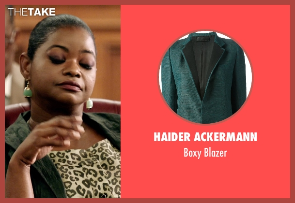 Haider Ackermann green blazer from Black or White seen with Octavia Spencer (Rowena Jeffers)