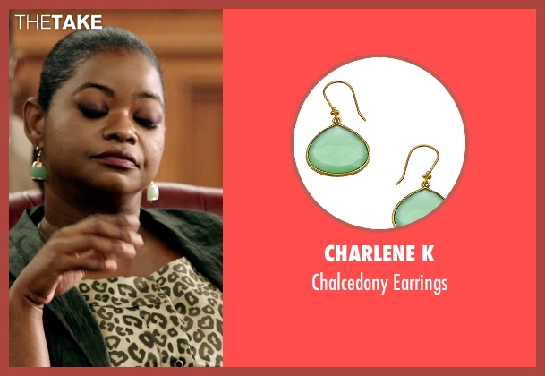 Charlene K green earrings from Black or White seen with Octavia Spencer (Rowena Jeffers)