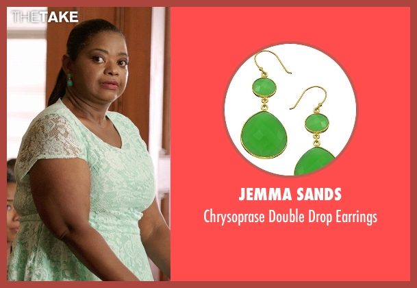 Jemma Sands green earrings from Black or White seen with Octavia Spencer (Rowena Jeffers)