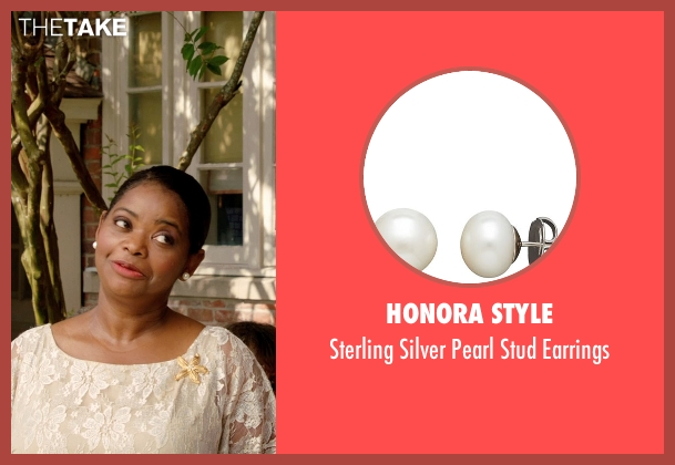 Honora Style white earrings from Black or White seen with Octavia Spencer (Rowena Jeffers)