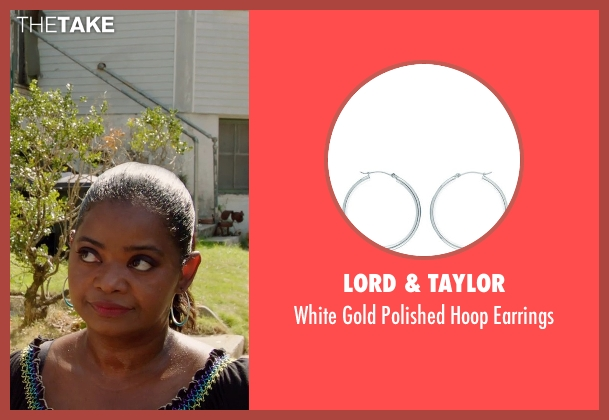 Lord & Taylor white earrings from Black or White seen with Octavia Spencer (Rowena Jeffers)