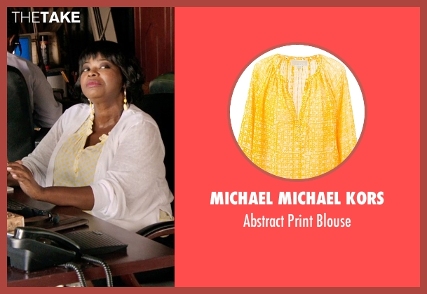 Michael Michael Kors yellow blouse from Black or White seen with Octavia Spencer (Rowena Jeffers)