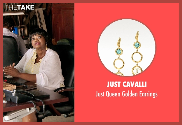 Just Cavalli yellow earrings from Black or White seen with Octavia Spencer (Rowena Jeffers)