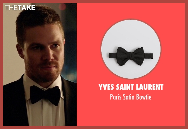 Yves Saint Laurent black bowtie from Arrow seen with Oliver Queen / Green Arrow (Stephen Amell)