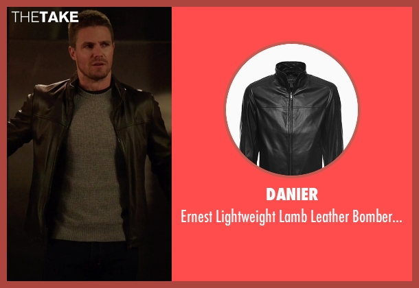 Danier black jacket from Arrow seen with Oliver Queen / Green Arrow (Stephen Amell)