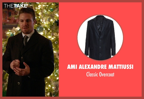 Ami Alexandre Mattiussi black overcoat from Arrow seen with Oliver Queen / Green Arrow (Stephen Amell)