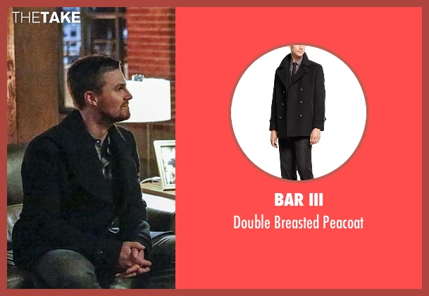 Bar III black peacoat from Arrow seen with Oliver Queen / Green Arrow (Stephen Amell)