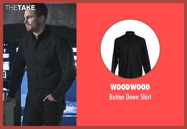 Woodwood black shirt from Arrow seen with Oliver Queen / Green Arrow (Stephen Amell)
