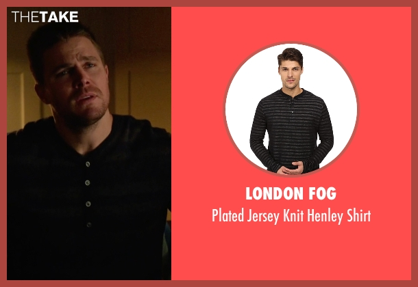 London Fog black shirt from Arrow seen with Oliver Queen / Green Arrow (Stephen Amell)
