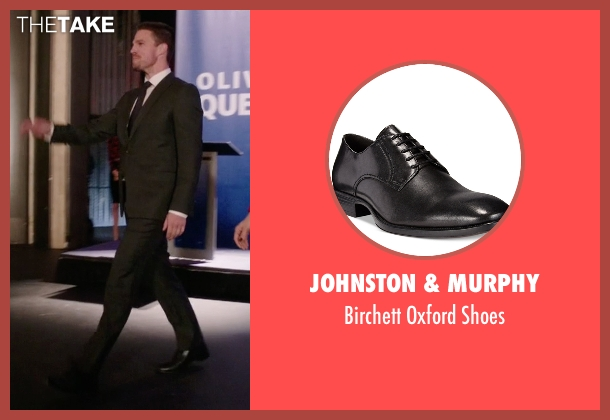 Johnston & Murphy black shoes from Arrow seen with Oliver Queen / Green Arrow (Stephen Amell)