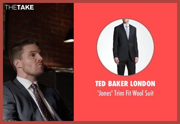 Ted Baker London black suit from Arrow seen with Oliver Queen / Green Arrow (Stephen Amell)