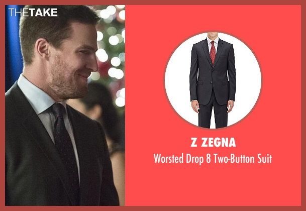 Z Zegna black suit from Arrow seen with Oliver Queen / Green Arrow (Stephen Amell)