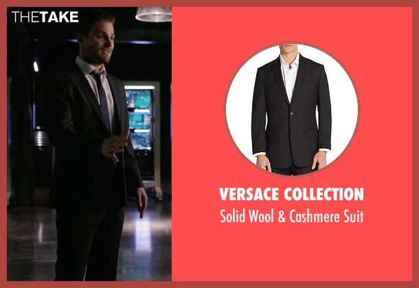 Versace Collection black suit from Arrow seen with Oliver Queen / Green Arrow (Stephen Amell)