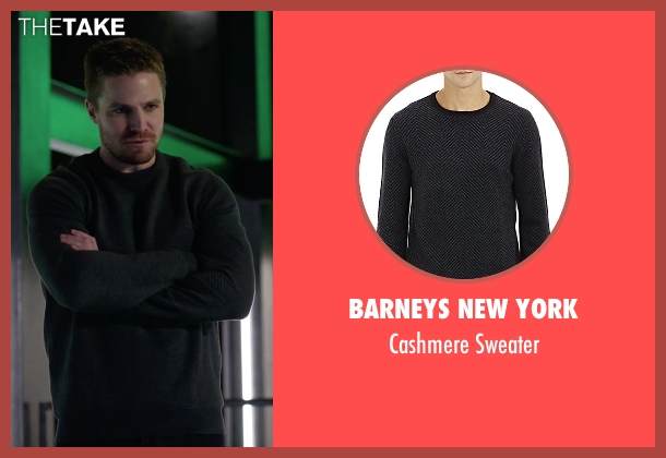 Barneys New York black sweater from Arrow seen with Oliver Queen / Green Arrow (Stephen Amell)