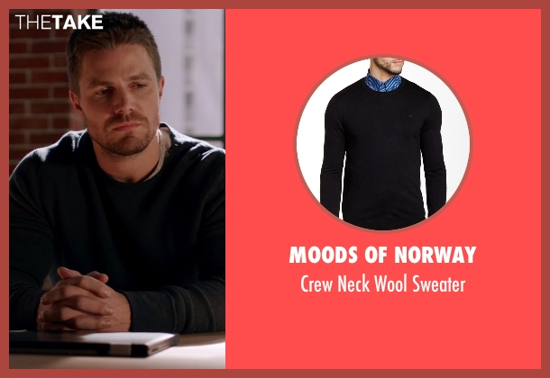 Moods of Norway black sweater from Arrow seen with Oliver Queen / Green Arrow (Stephen Amell)