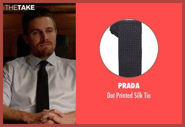 Prada black tie from Arrow seen with Oliver Queen / Green Arrow (Stephen Amell)