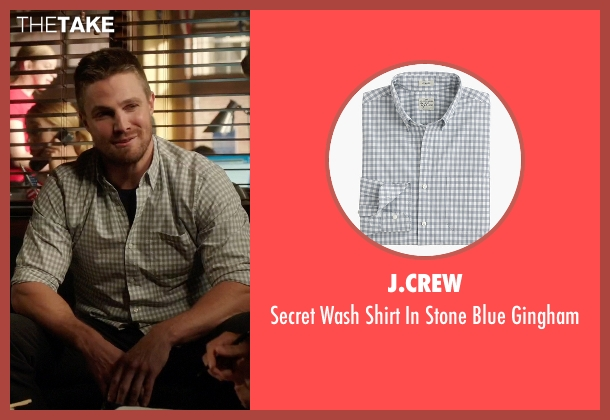 J.Crew blue gingham from Arrow seen with Oliver Queen / Green Arrow (Stephen Amell)