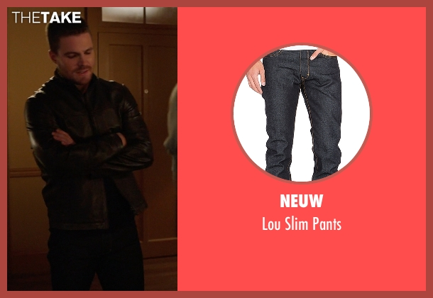 Neuw blue pants from Arrow seen with Oliver Queen / Green Arrow (Stephen Amell)
