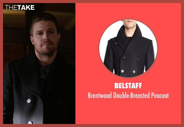 Belstaff blue peacoat from Arrow seen with Oliver Queen / Green Arrow (Stephen Amell)