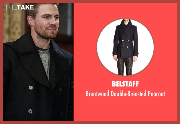 Belstaff blue peacoat from Arrow seen with Oliver Queen / Green Arrow (Stephen Amell)