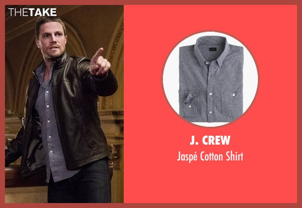 J. Crew blue shirt from Arrow seen with Oliver Queen / Green Arrow (Stephen Amell)