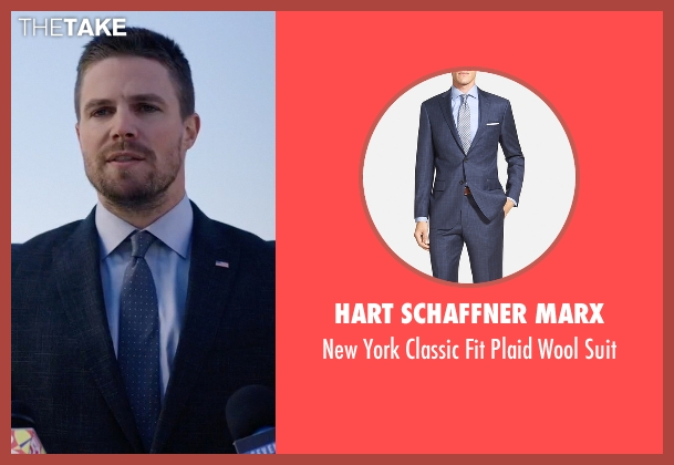 Hart Schaffner Marx blue suit from Arrow seen with Oliver Queen / Green Arrow (Stephen Amell)