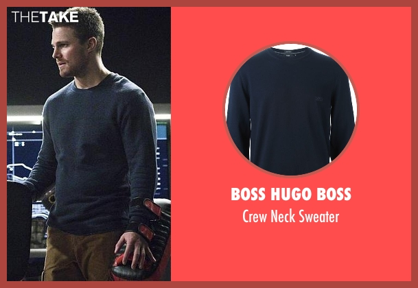 Boss Hugo Boss blue sweater from Arrow seen with Oliver Queen / Green Arrow (Stephen Amell)