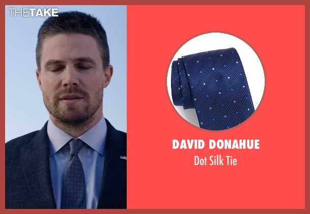 David Donahue blue tie from Arrow seen with Oliver Queen / Green Arrow (Stephen Amell)