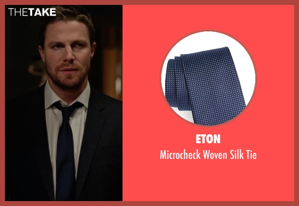 Eton blue tie from Arrow seen with Oliver Queen / Green Arrow (Stephen Amell)