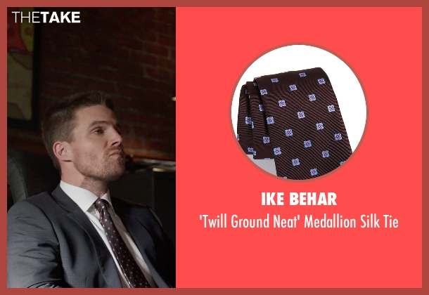 Ike Behar brown tie from Arrow seen with Oliver Queen / Green Arrow (Stephen Amell)